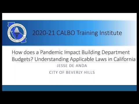 How does a Pandemic Impact Building Department Budgets? Understanding Applicable Laws in California